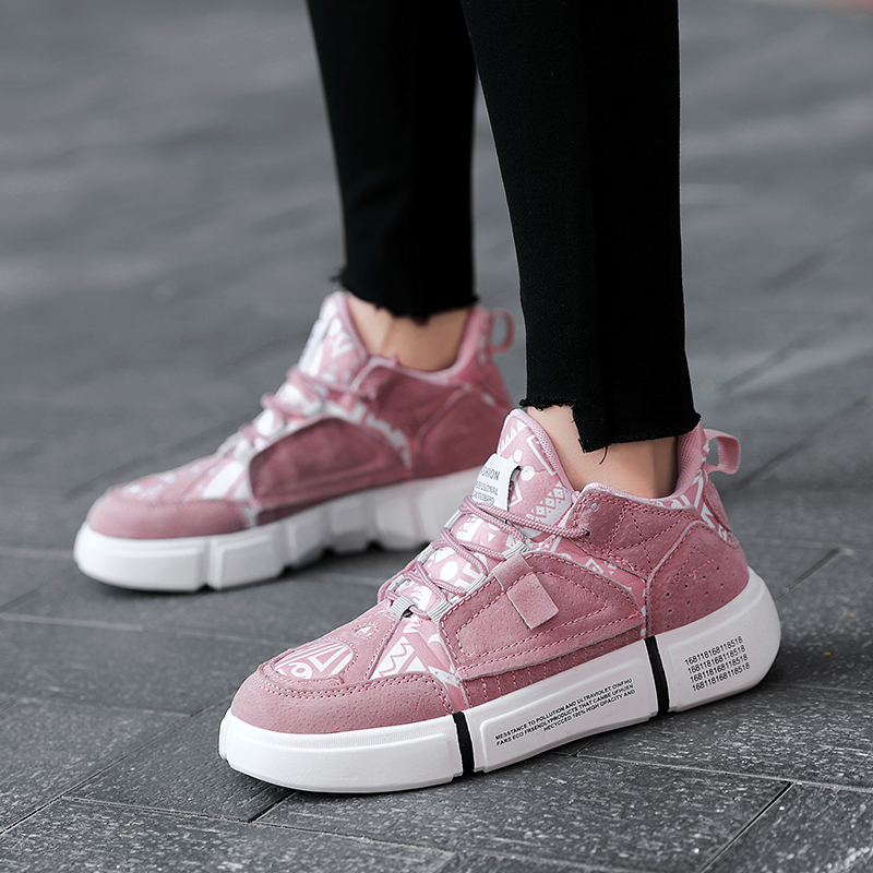 ADBOOV Nouveau 2019 baskets plates Femmes Hommes Taille 35-44 En Cuir + Toile Chunky Chaussures Chaussures Femme - 5