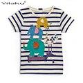 Niñas Camiseta de Verano 2017 Niña Animales Patrón de Rayas Tops Niños de Manga Corta Camisetas Camisetas de La Muchacha Ropa CG258