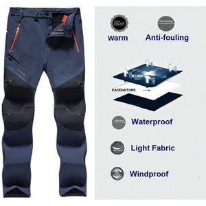 Image 2 - Pantalones de senderismo para hombre, impermeables, softshell, para invierno, exteriores, deportes, Camping, Trekking, ciclismo, pantalones de lana de gran tamaño 6XL
