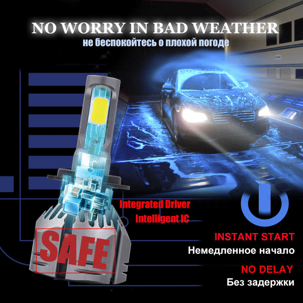 Uttril 2Pcs H4 LED H7 H11 H8 9006 HB4 H1 H3 HB3 H9 H27 Car Headlight Bulbs 3000K 4300K 6500K 8000K Auto Headlamp 10000LM 12V
