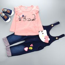 Autumn Children Cotton Hello Kitty Tracksuit Denim Coveralls Jeans T Shirt Sweatshirts 2PCS Baby Girl Boy Clothing Set Kids Suit
