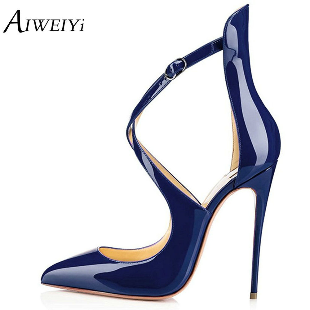 AIWEIYi 2018 Summer Style Hollow Out Sandals Soft PU Leather Women Shoes Pointed Toe High Heels Cross Strap Wedding Party Shoes crystal high heels shoes platform transparent pvc cross strap women gladiator sandals square toe nightclub party wedding shoes