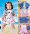 Infantis Do Bebê Meninas Bonito do Verão Rosa de Bolinhas Vestido Sem Mangas + Denim Colete Encabeça Roupas 2 Pcs Set Outfits 6-36 M