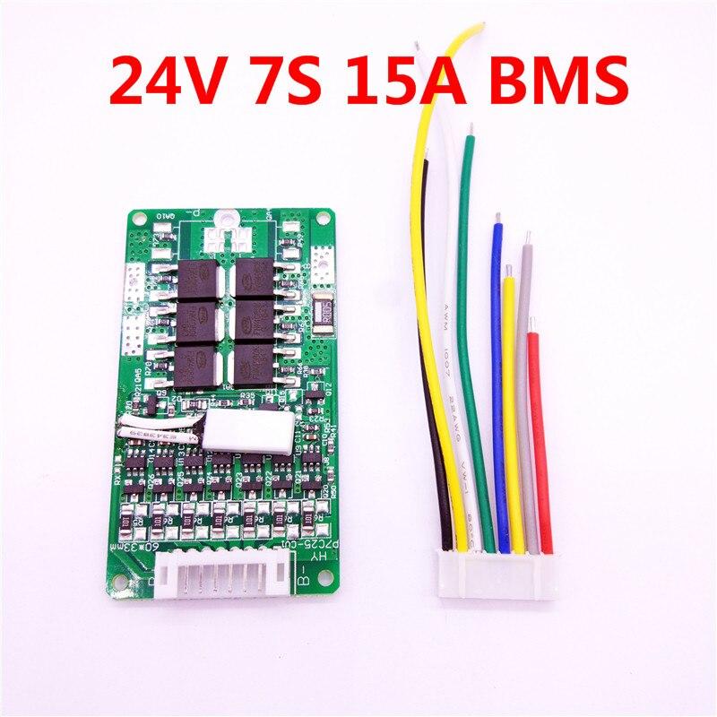 Batería de 7 s 24 V 15A BMS 24 V batería de litio BMS para la bici eléctrica 29,4 V 8Ah 10Ah 12Ah li-ion con la función del balance