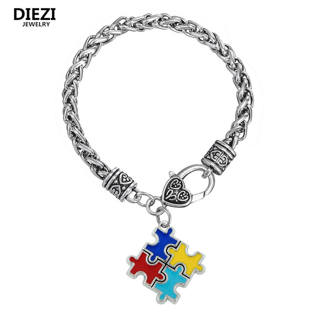 Zi Fashion Bracelets For Women Men Metal Autism Awareness Puzzle Autistic Charm Bangles