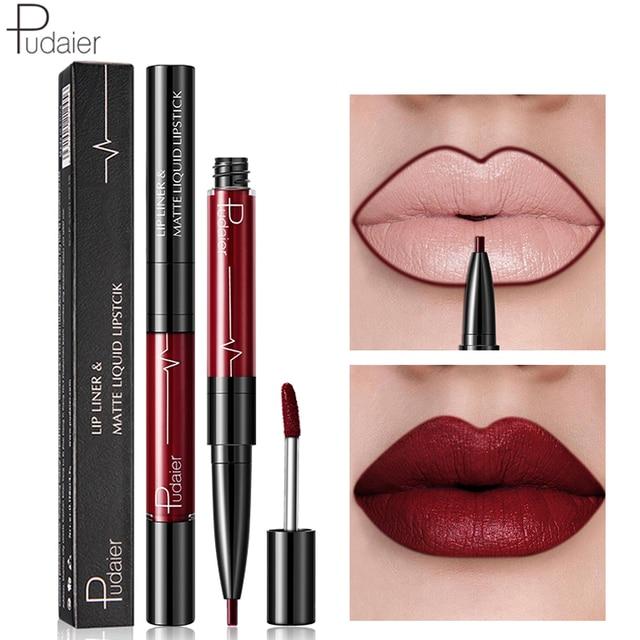 Nuevo 2018 Color mate lápiz labial líquido maquillaje impermeable marca Nude rojo oscuro mate terciopelo pudaier lápiz labial brillo de labios conjunto