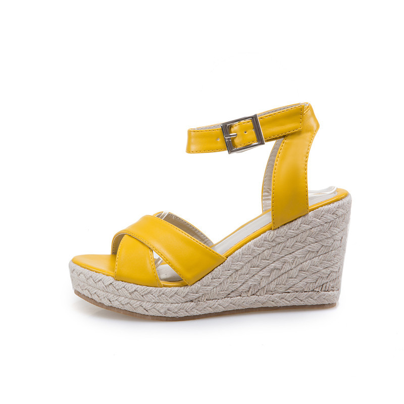 Souple Sandales Cuir Jaune En yellow Blanc forme Femmes Plate Talon White qIUXxZO