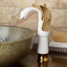 OUYASHI Luxury Bathroom Basin Faucets high Swan Faucets Deck mounted water tap free shipping high grade luxury animal swan style faucets bathroom basin mixer tap noble gorgeous swan sink hydrant promotion