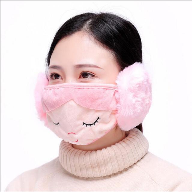 kawaii girls women Ear protective mouth mask Windproof earmuff anti dust winter masks Anti Haze Flu cotton Face masks 1