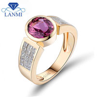 Fashion Jewelry Oval 7x9mm Tourmaline With Dia In Solid 14Kt White Gold Engagement Ring