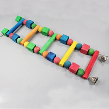 все цены на 1 pcs Birds Pets Parrots Colorful Ladders Climbing Toys Hanging Wooden beads With Natural Wood Birds toys Bird cage accessories онлайн