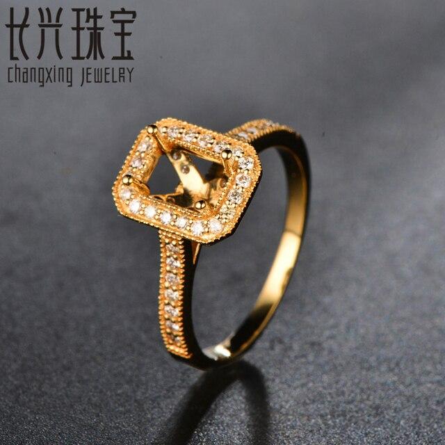Emerald Cut 4x6mm 14 k 0.35ct Oro Ronda Diamond Milgrain Semi Anillo de Montaje