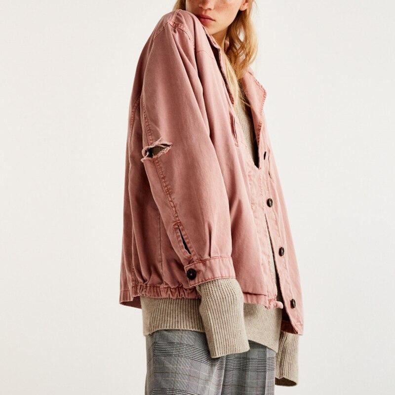 Manches Et 2018 De Femelle Manteau Jeans Femmes Veste Outwear D'hiver Pink Manteaux Automne À Filles Casual Base Longues Vintage Denim Lâche 4Pww8qId