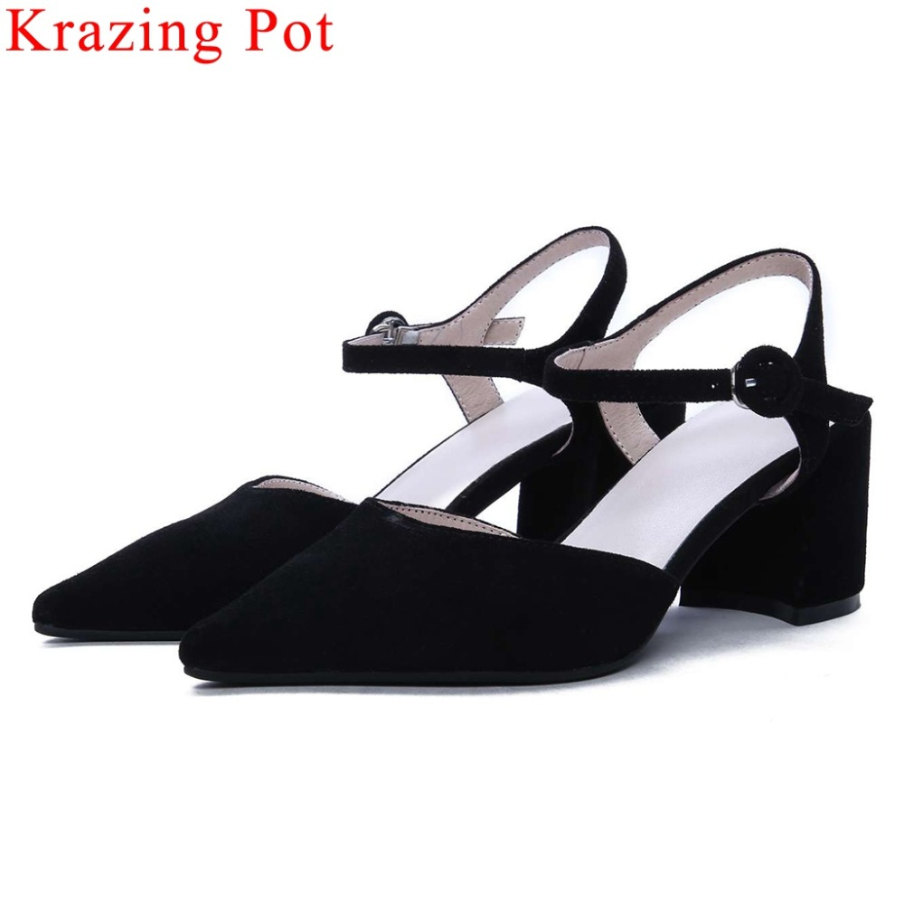 Krazing Pot beauty girls full grain leather buckle strap chunky high heels pointed toe women sandals