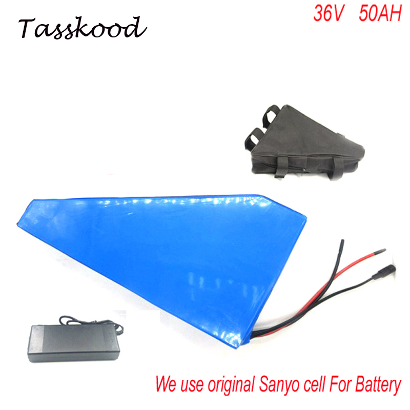 Great triangle battery 36v 50ah lithium ion battery for bafang 750w 1000w 36v electric bicycle potencia bicicleta For Sanyo Cell