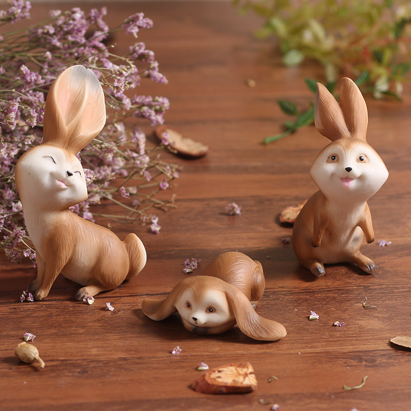 Resin Creative Features Kawaii Cute Rabbits Animal Home Statuette Decoration Kids Play Gift Figurines Crafts Car Ornaments