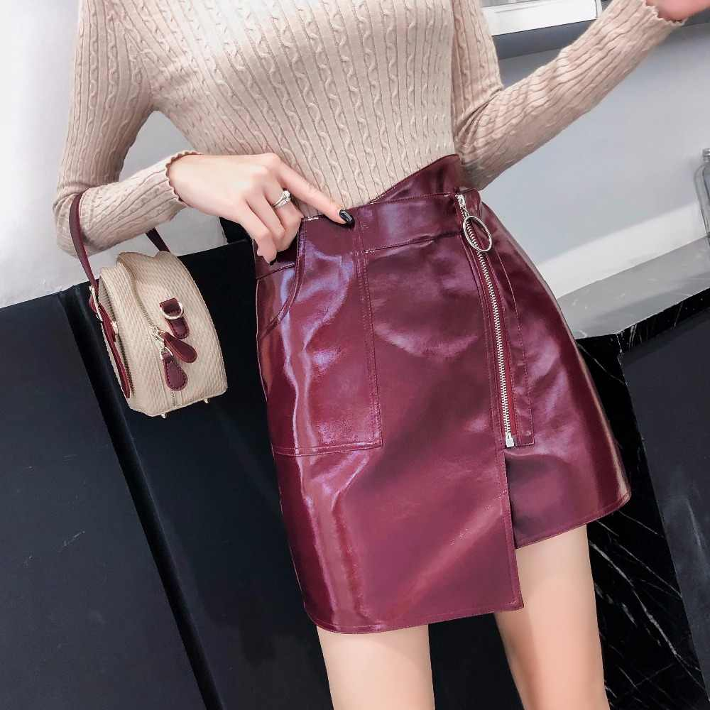 a416cc39a36b72 Women PU Leather Short Skirt High Waist Slim Hip A-line Skirts Fashion  Shinning Solid