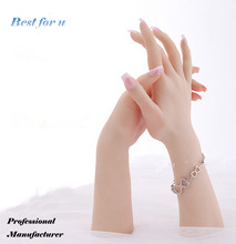 Fast Free shipping!Realistic Female Hand Mannequin Soft Silicone Flexible For Ring Bracelet And Glove Display