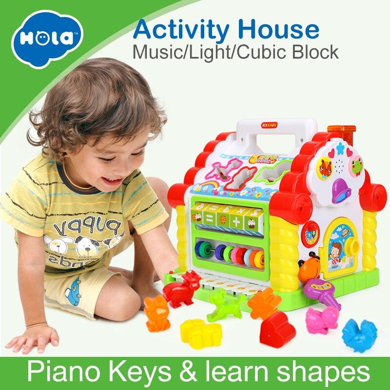 HUILE juguetes 739 multifuncionales juguetes musicales bebé Fun House Musical electrónico bloques geométricos clasificación aprendizaje juguetes educativos