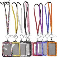 Resin Rhinestone Crystal Card ID Badge Holder with Lanyard Rope Bling Vertical ID Business Name Card Case Office Supplies Newst