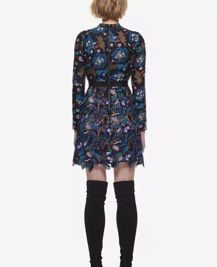 Multi Manches Qualité Femmes D'été Automne De Longues Haute Mode Pour Vintage Mince Moulante Mini Dentelle Robes Robe Vilain Piste Ufzdxqwx