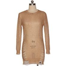 Bonnie Forest Gold Metallic Knit Shredded Sweater Dress Popular Stretch Sexy Ladder Cut-Out Metallic Sequins Dress Beach Wear