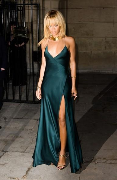 Green satin maxi dress