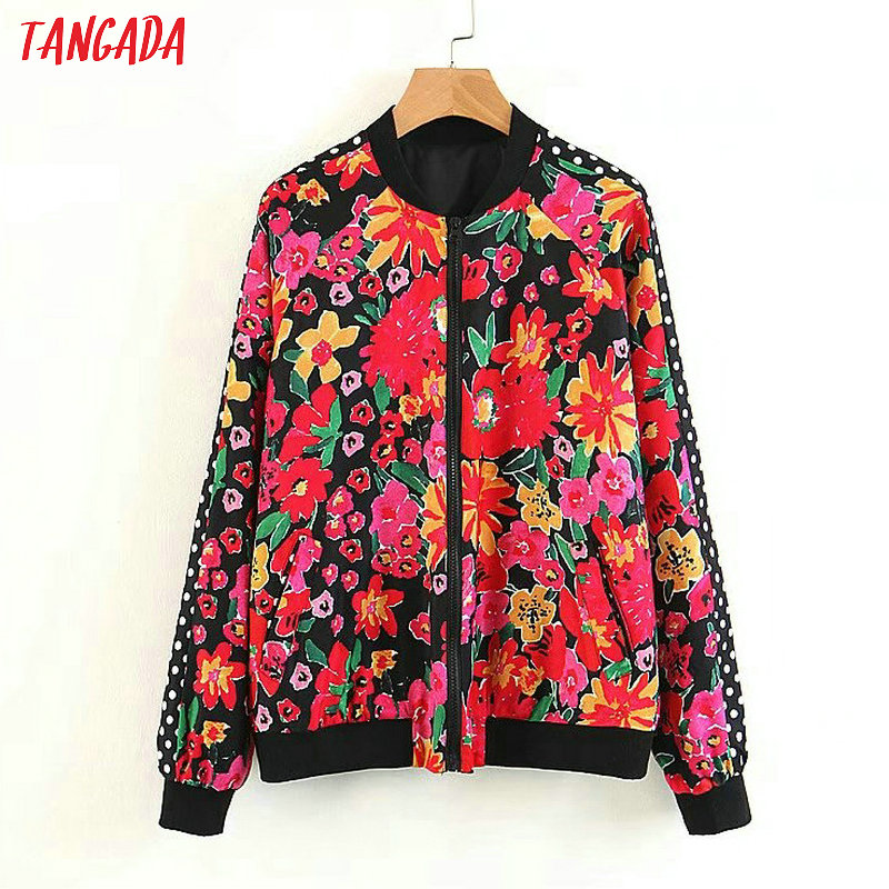Tangada Women floral Print bomber   jacket   vintage long sleeve   basic     jackets   Fashion Zipper outwear casual Loose brand tops XL303