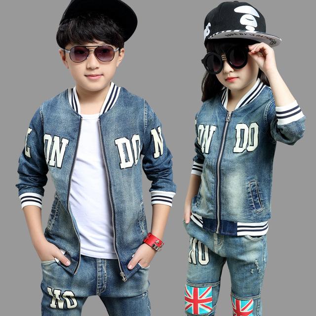 Pantalones vaqueros de los niños para niñas niños establece adolescente chaqueta del bebé niños de la capa + pantalón largo 2 unids tamaño 8 9 10 11 12 15 años de edad ropa de segunda mano
