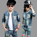 kids jeans for girls boys sets teenage baby jacket children coat +long pant 2 pcs age size 8 9 10 11 12 15 years resale clothing