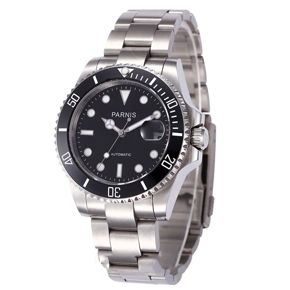 new arrive 40mm parnis black dial ceramic bezel sapphire glass automatic mens watch