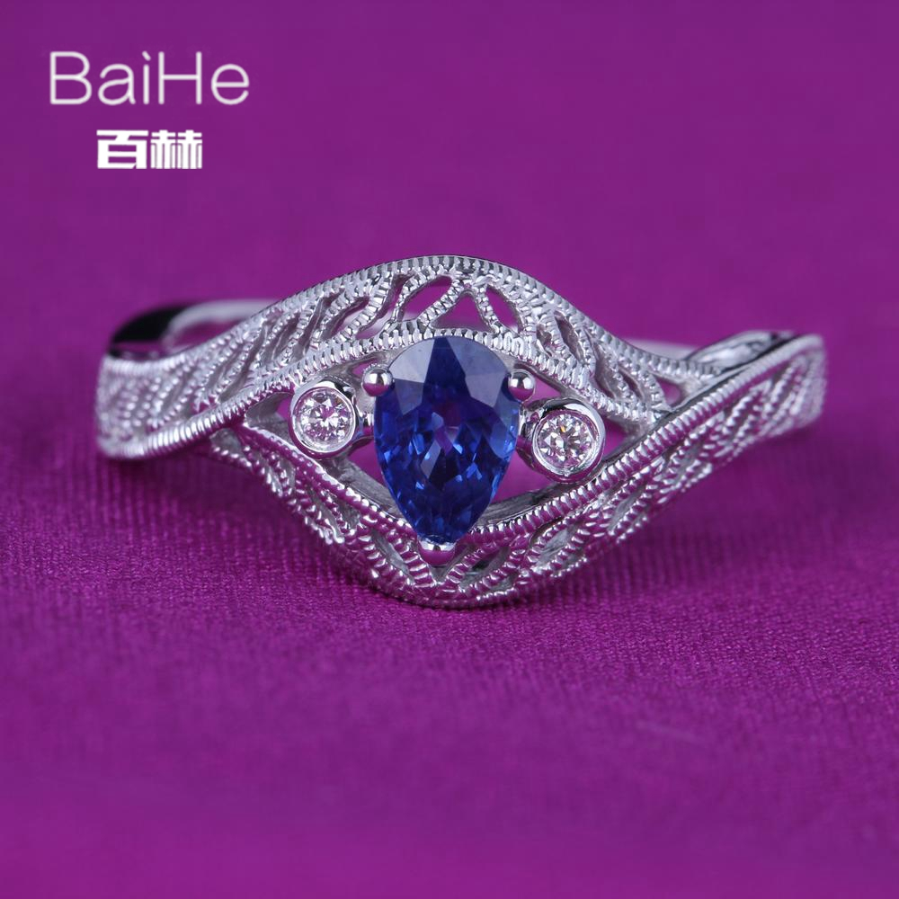BAIHE Solid 14K White Gold(AU585)0.6CT Certified Pear Cut Natural Sapphire Wedding Women Elegant grace Trendy Fine Jewelry Ring