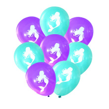 10pc/set Pretty Mermaids Balloon Girl Boy Happy Birthday Party Latex Tiffany Purple Ballons Gender Reveal Baby Shower Hat Topper
