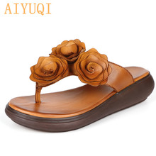 AIYUQI Women slippers sandals 2019 new women genuine leather flower fashion casual wedge flip flop