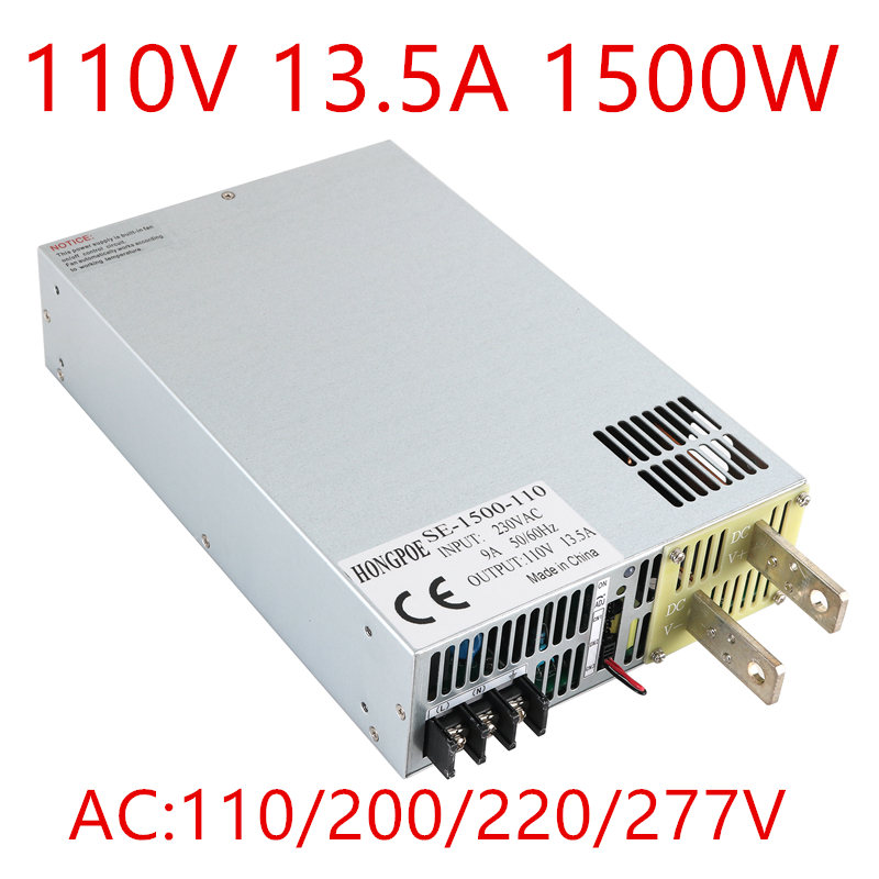 New 1PCS DC110V Power Supply 110V 13.5A AC-DC High-Power PSU 1500W S-1500-110 DC110V13.5