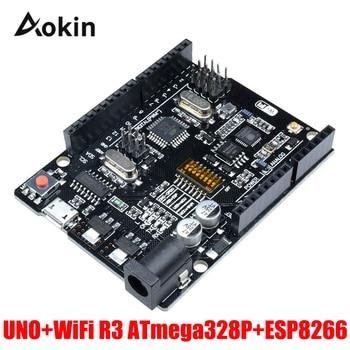 UNO R3 + WiFi ATmega328P+ESP8266 (32Mb memory) USB-TTL CH340G For Arduino Uno NodeMCU WeMos ESP8266 uno r3 development board atmega328p ch340g for arduino uno r3 with usb cable pin header acrylic case