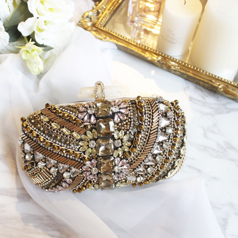 2018 New and Luxury Evening Bag Design for Women, Beaded Clutch Bag with Shining Diamods, Chain Bag 2pcs mini walkie talkie uhf interphone transceiver for kids use two way portable radio handled intercom free shipping