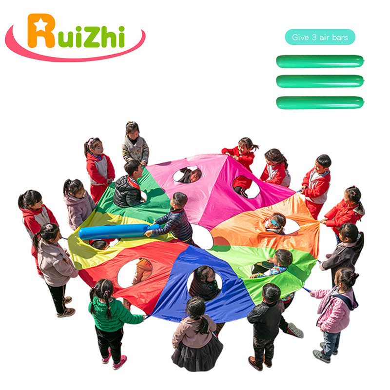 Ruizhi 3m/4m/5m/6m Diameter Outdoor Game Kindergarten Poke A Mole Or Jump-Sack Parachute With Holes Rainbow Umbrella Toy RZ1055