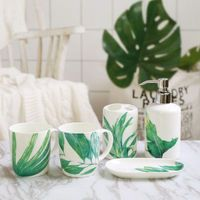 Green Rainforest Style Ceramic Bathroom Five piece Set Home Bone Porcelain Wash Cup+Toothbrush Holder+Lotion Bottle+Soap Dish