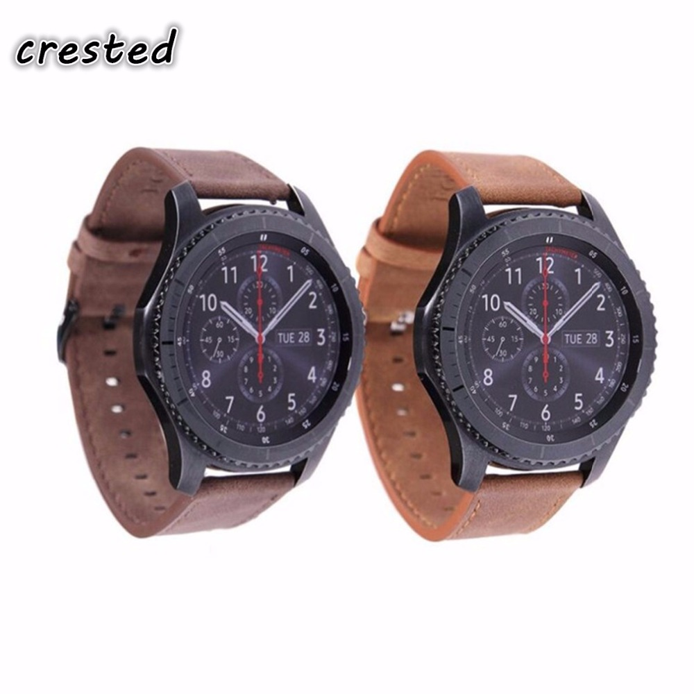CRESTED Leather watch band for Samsung Gear S3 Frontier Strap Gear S3 Classic 22mm Retro replacement wristband Link Bracelet CRESTED Leather watch band for Samsung Gear S3 Frontier Strap Gear S3 Classic 22mm Retro replacement wristband Link Bracelet