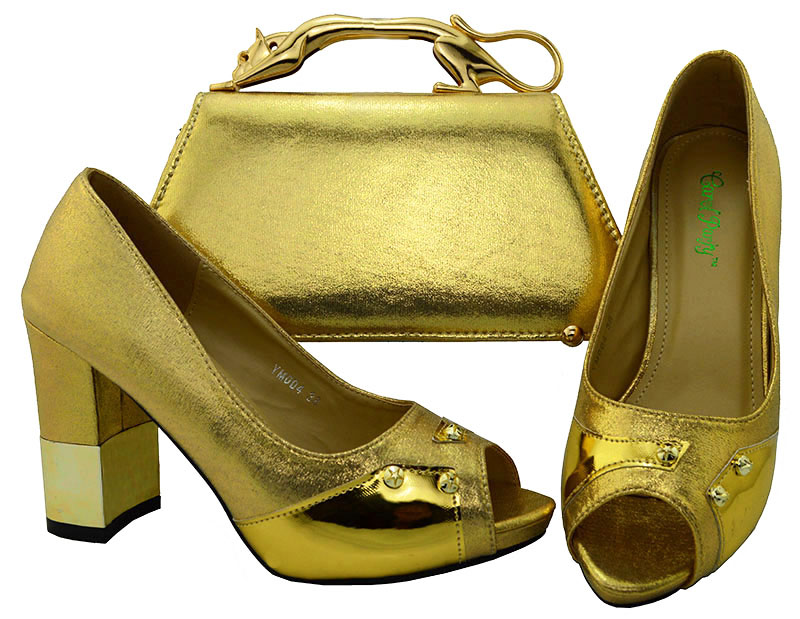a1a9ede627eb 2018 shoes with matching clutches bag free ship by dhl italian gold shoes  and bag matching