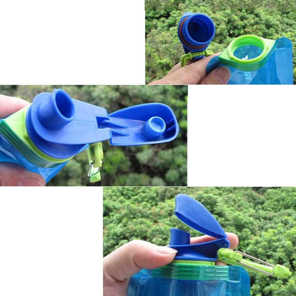 700 ミリリットル再利用可能な柔軟な水ボトルポーチバッグキャンプハイキングツール水ボトルスポーツポータブル飲料ボトルやかん