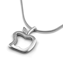 Solid 925 silver lovely apple pendant Christmas gifts.Fashion necklace sterling silver women.Charming girl silver jewelry Simple