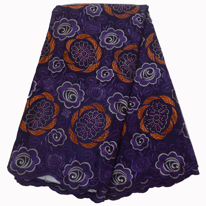 Free shipping (5yards/pc) latest design African cotton lace fabric in purple and orange with embroidery for party dress  CLP289Free shipping (5yards/pc) latest design African cotton lace fabric in purple and orange with embroidery for party dress  CLP289