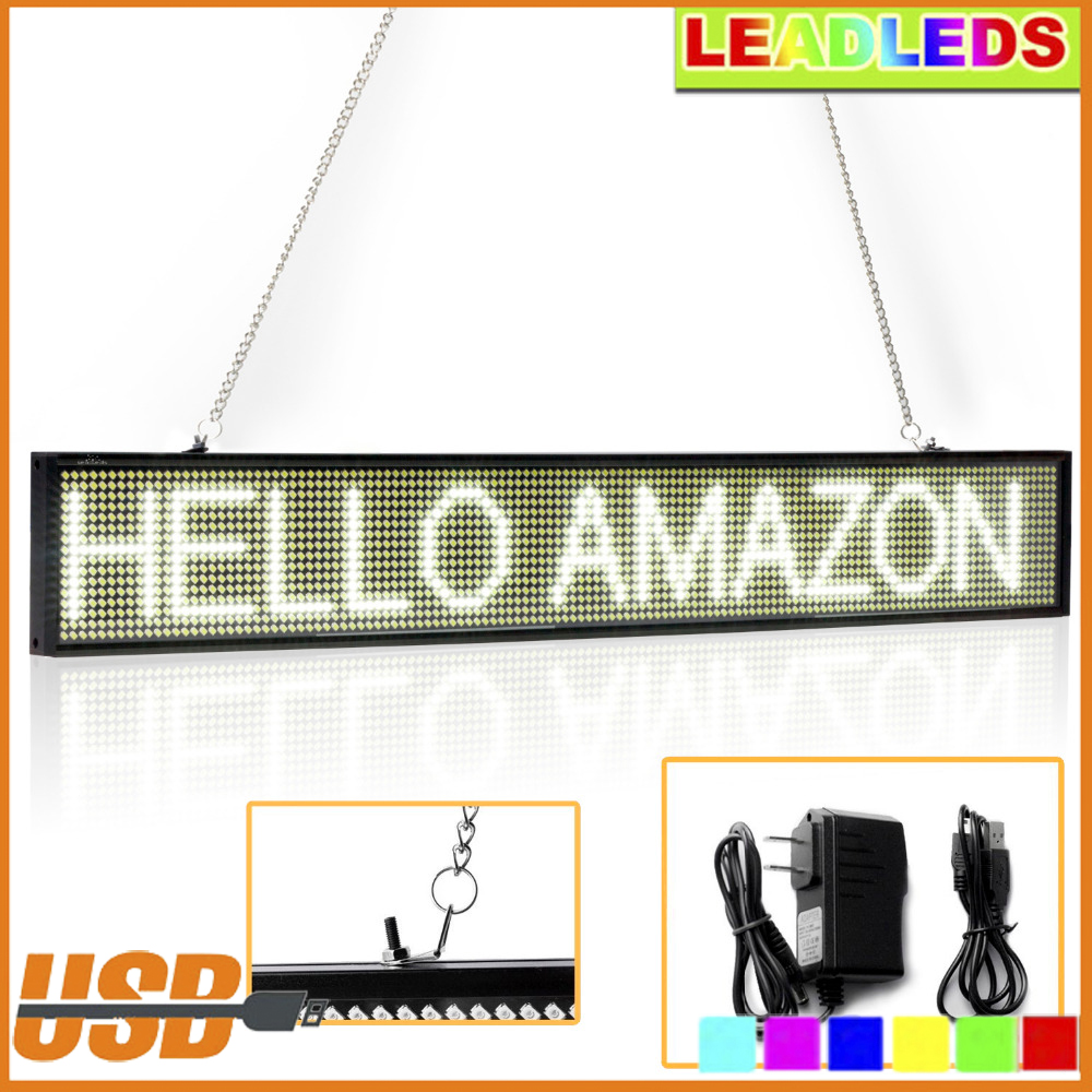 50CM White P5 SMD Store Led Sign Programmable Scrolling Message Can Russian support LED Display Board Time countdown display programmable led digital scrolling message name tag id badge 11 44 pixels