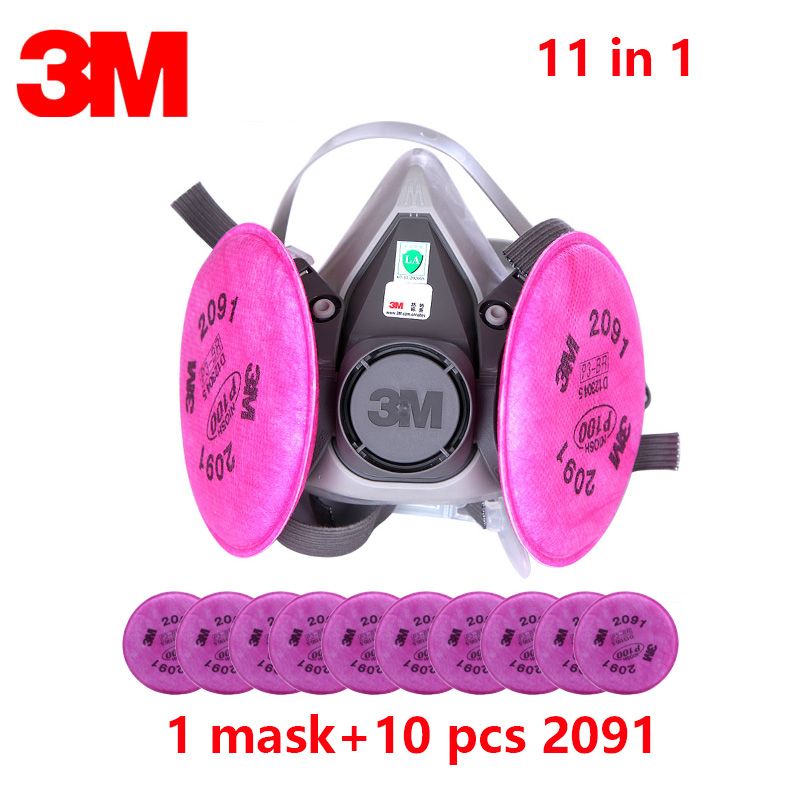 11 in 1suit Half Face Mask 3M 6200 Spray Paint /Dust Mask respirator Anti-Dust mask facepiece with 3M 2091 P100 Fliters 11 in 1suit Half Face Mask 3M 6200 Spray Paint /Dust Mask respirator Anti-Dust mask facepiece with 3M 2091 P100 Fliters