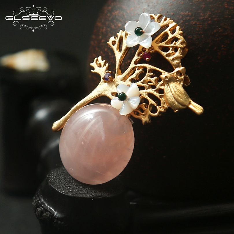 GLSEEVO Natural Crystal Brooch Pins Shell Flower Birds Brooches Gift For Women Wedding Dual Use Luxury Fine Jewellery GO0132 недорого