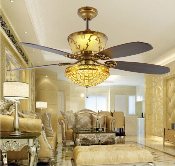 Remote Control Ceiling Fan Light Luxury Decoration Restaurant LED Crystal Lamp Living Room Lobby 52inch In Fans From Lights