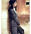Новый 2016 Осень Теплый Серый Кардиган Свитер Куртка Моды Случайные Платье Свободные Свитера женщин Свитер Пальто Оптовая