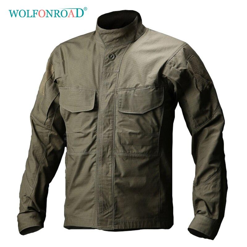 WOLFONROAD Men Military Shirt Outdoor Waterproof Breathable Tactical Shirt Summer Long Sleeve Hiking Fishing Shirt L
